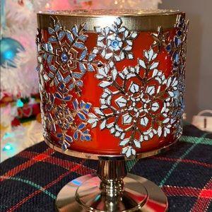 Blue & White Snowflake ❄️ Pedestal Candle Holder